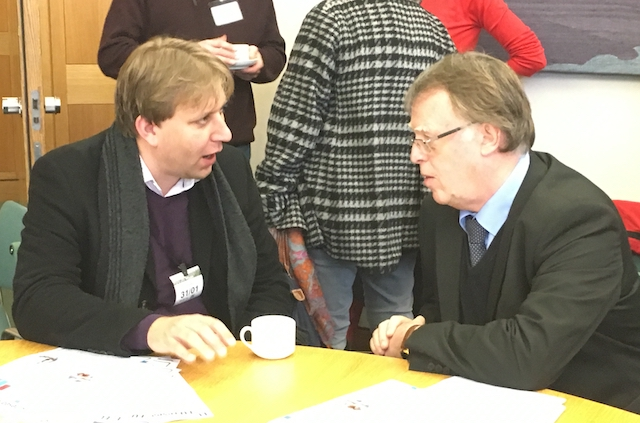 Astrophysicist Chris Lintott (left) talks to Andrew Smith MP
